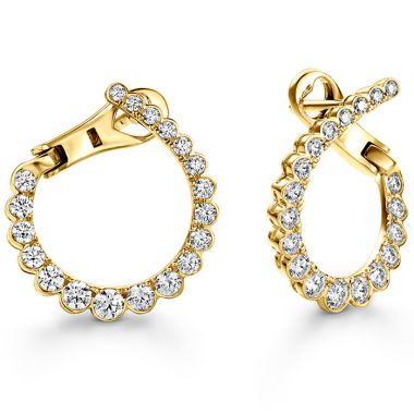 Hearts on Fire 0.98 ctw. Aerial Regal Diamond Hoops- Small in 18K Yellow Gold