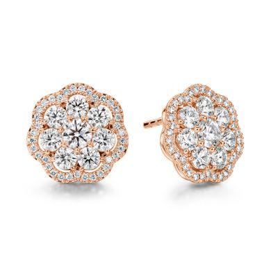Hearts on Fire 2.42 ctw. Aurora Cluster Earrings in 18K Rose Gold