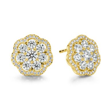 Hearts on Fire 2.42 ctw. Aurora Cluster Earrings in 18K Yellow Gold
