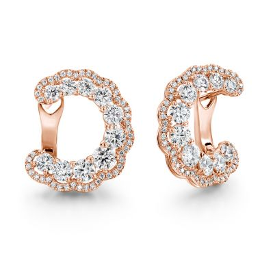 Hearts on Fire 3.35 ctw. Aurora Hoop Earrings in 18K Rose Gold