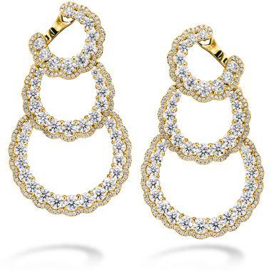 Hearts on Fire 13.84 ctw. Aurora Triple Tier Hoop Earrings in 18K Yellow Gold
