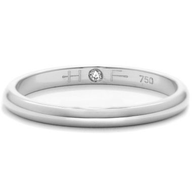 Hearts on Fire Ladies Half-Round Comfort Fit Band in 18K White Gold