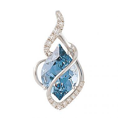 14k White Gold Diamond and Chatham Created Aqua Spinel Pendant