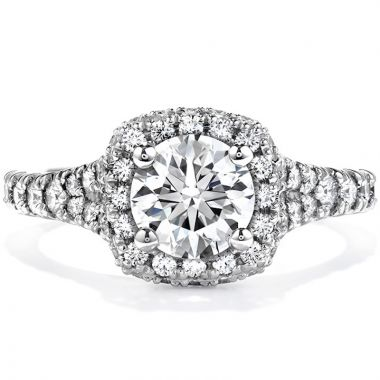Hearts on Fire 18k White Gold  Halo Engagement Ring