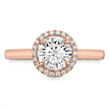 Hearts on Fire 18k Rose Gold Halo Engagement Ring