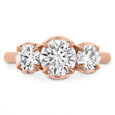 Hearts on Fire 18k Rose Gold 3 Stone Engagement Ring