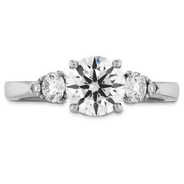 Hearts on Fire 0.15 ctw. HOF Signature Three Stone Engagement Ring in 18K White Gold