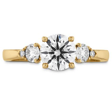 Hearts on Fire 0.25 ctw. HOF Signature Three Stone Engagement Ring in 18K Yellow Gold