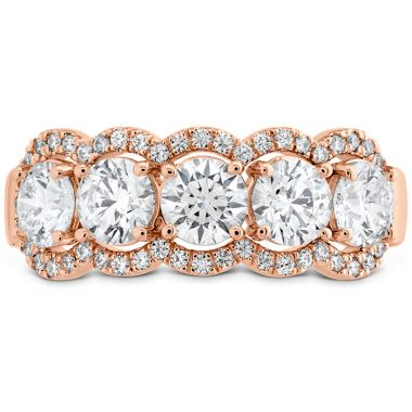 Hearts on Fire 1.55 ctw. HOF 5 Stone Halo Band in 18K Rose Gold