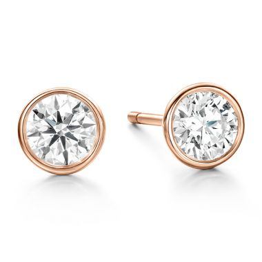 Hearts on Fire HOF Classic Bezel Studs in 18K Rose Gold