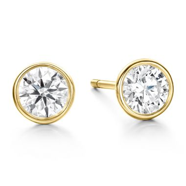 Hearts on Fire 1.45 ctw. HOF Classic Bezel Studs in 18K Yellow Gold