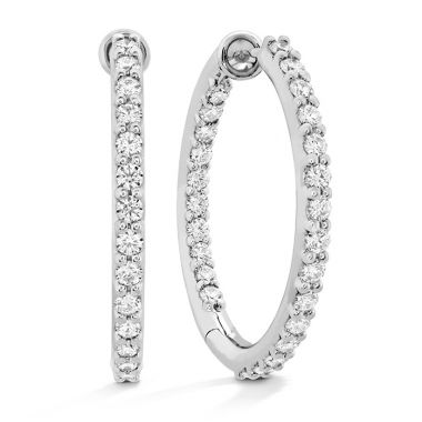 Hearts on Fire 0.8 ctw. HOF Classic Dia Hoop Inside-Out - Medium in 18K White Gold