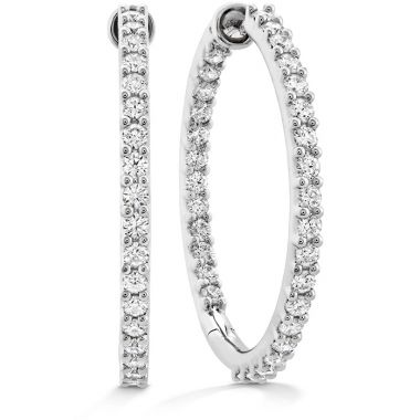 Hearts on Fire 1.95 ctw. HOF Classic Dia Hoop Inside-Out - Large in 18K White Gold