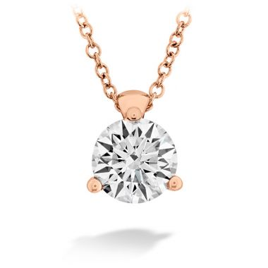 Hearts on Fire 0.1 ctw. HOF Classic 3 Prong Solitaire Pendant in 18K Rose Gold