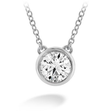 Hearts on Fire 0.1 ctw. HOF Classic Bezel Solitaire Pendant in 18K White Gold