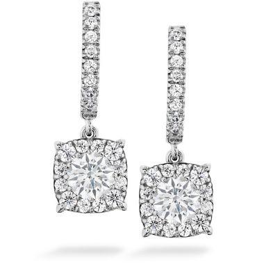 Hearts on Fire 0.58 ctw. HOF Custom Halo Drop Earrings in 18K White Gold