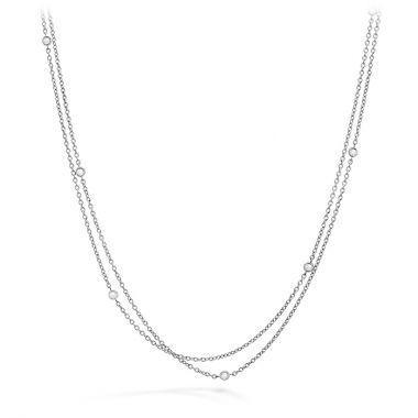 Hearts on Fire 0.1 ctw. HOF Double Chain Bezel Necklace in 18K White Gold