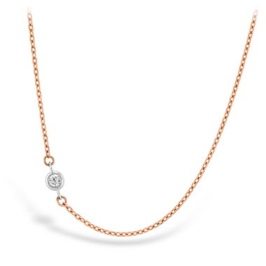 Hearts on Fire HOF Signature Off-Set Single Bezel Necklace in 18K Rose Gold w/Platinum