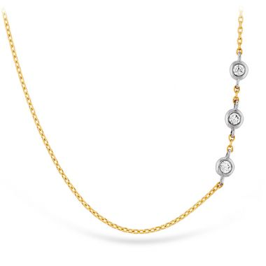 Hearts on Fire 0.05 ctw. HOF Signature Off-Set Triple Bezel Necklace in 18K Rose Gold w/Platinum