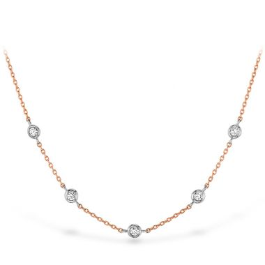 Hearts on Fire HOF Signature Off-Set Five Bezel Necklace in 18K Rose Gold w/Platinum