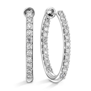 Hearts on Fire 0.66 ctw. HOF Oval Classic Diamond Hoop Inside-Out - Medium in 18K White Gold