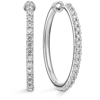 Hearts on Fire 0.96 ctw. HOF Oval Classic Diamond Hoop - Large in 18K Yellow Gold