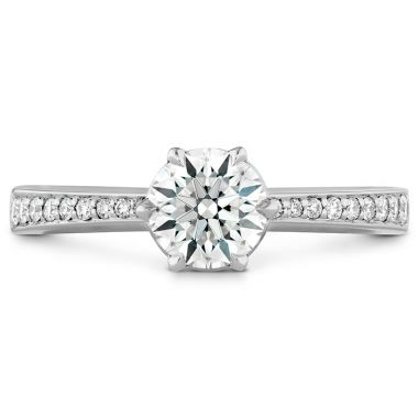Hearts on Fire 0.1 ctw. HOF Signature 6 Prong Engagement Ring - Diamond Band in 18K White Gold