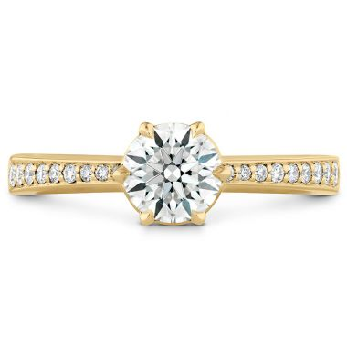 Hearts on Fire 0.1 ctw. HOF Signature 6 Prong Engagement Ring - Diamond Band in 18K Yellow Gold