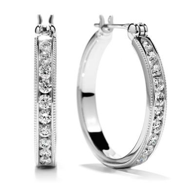 Hearts on Fire 0.4 ctw. Milgrain Hoop Earrings in 18K White Gold