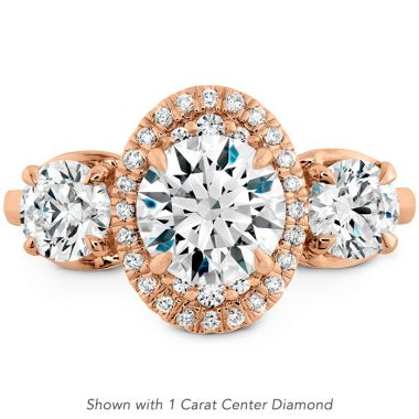 Hearts on Fire 0.15 ctw. Juliette 3 Stone Oval Halo Engagement Ring in 18K Rose Gold