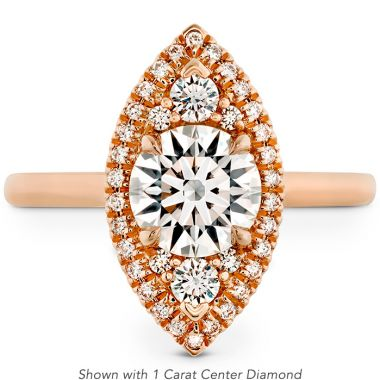 Hearts on Fire 0.18 ctw. Juliette Marquise Halo Engagement Ring in 18K Rose Gold