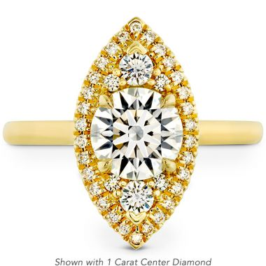 Hearts on Fire 0.55 ctw. Juliette Marquise Halo Engagement Ring in 18K Yellow Gold