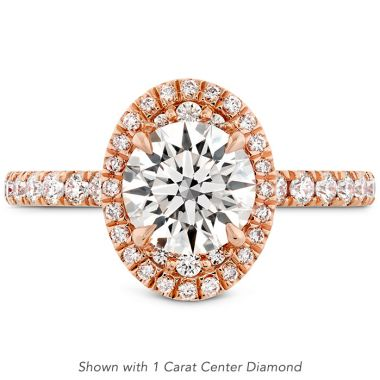 Hearts on Fire 0.46 ctw. Juliette Oval Halo Diamond Engagement Ring in 18K Rose Gold