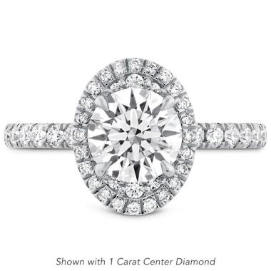 Hearts on Fire 0.48 ctw. Juliette Oval Halo Diamond Engagement Ring in 18K White Gold