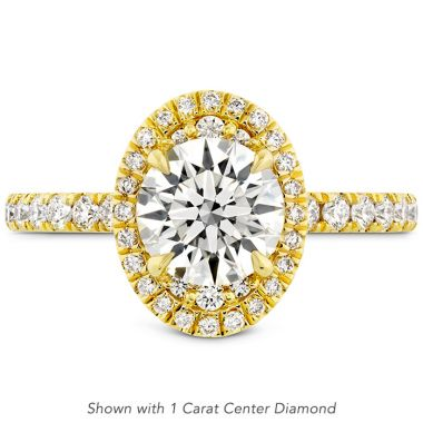 Hearts on Fire 0.4 ctw. Juliette Oval Halo Diamond Engagement Ring in 18K Yellow Gold