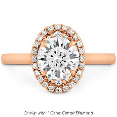 Hearts on Fire 0.13 ctw. Juliette Oval Halo Engagement Ring in 18K Rose Gold