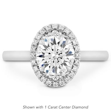 Hearts on Fire 0.19 ctw. Juliette Oval Halo Engagement Ring in 18K White Gold