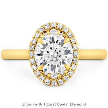 Hearts on Fire 0.11 ctw. Juliette Oval Halo Engagement Ring in 18K Yellow Gold