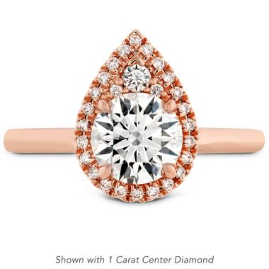 Hearts on Fire 0.19 ctw. Juliette Pear Halo Engagement Ring in 18K Rose Gold