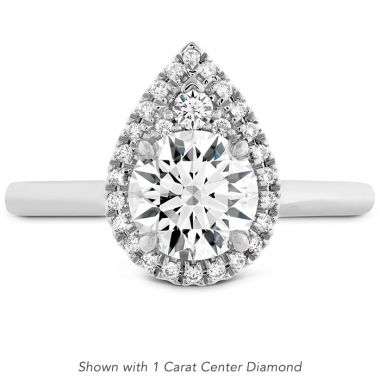Hearts on Fire 0.1 ctw. Juliette Pear Halo Engagement Ring in 18K White Gold