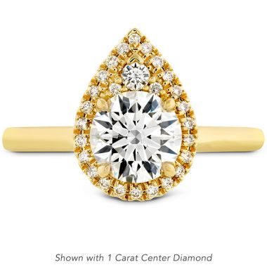 Hearts on Fire 0.16 ctw. Juliette Pear Halo Engagement Ring in 18K Yellow Gold