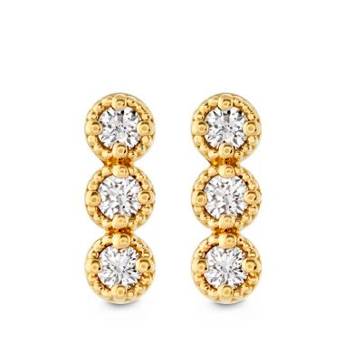 Hearts on Fire 0.19 ctw. Liliana Milgrain Diamond Bar Earrings in 18K Yellow Gold