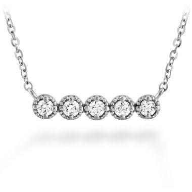 Hearts on Fire 0.17 ctw. Liliana Milgrain Diamond Bar Necklace in 18K White Gold