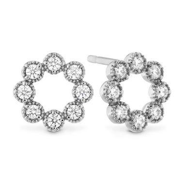 Hearts on Fire 0.32 ctw. Liliana Milgrain Diamond Circle Earrings in 18K White Gold