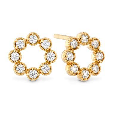 Hearts on Fire 0.32 ctw. Liliana Milgrain Diamond Circle Earrings in 18K Yellow Gold