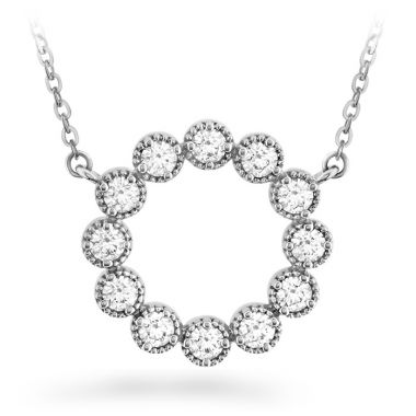 Hearts on Fire 0.38 ctw. Liliana Milgrain Diamond Circle Pendant in 18K White Gold