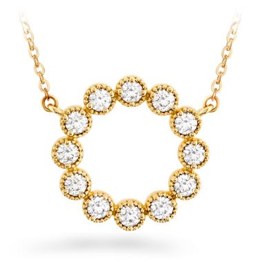 Hearts on Fire 0.38 ctw. Liliana Milgrain Diamond Circle Pendant in 18K Yellow Gold