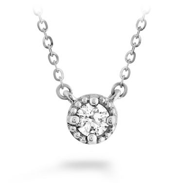 Hearts on Fire 0.13 ctw. Liliana Milgrain Single Diamond Pendant in 18K White Gold