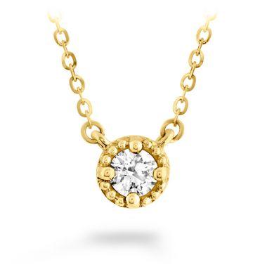 Hearts on Fire 0.13 ctw. Liliana Milgrain Single Diamond Pendant in 18K Yellow Gold