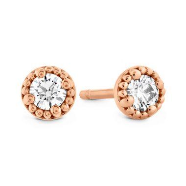 Hearts on Fire 0.25 ctw. Liliana Milgrain Single Diamond Stud Earrings in 18K Rose Gold
